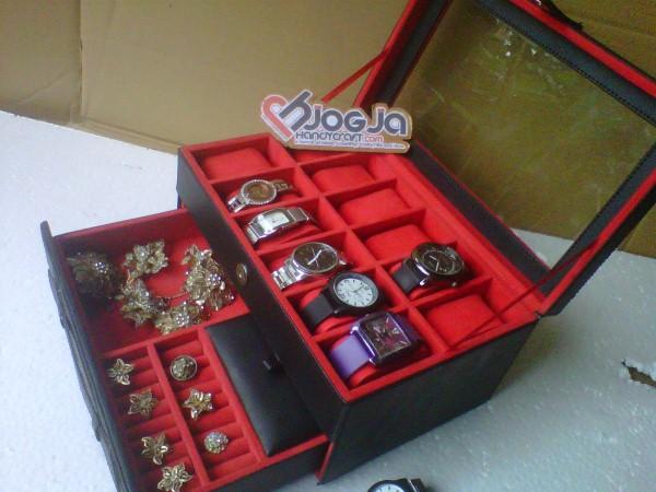 Box Jam Isi 12 Plus Laci Tempat Perhiasan Merah Hitam