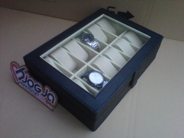 Elegan Watch Box Organizer Isi 12 Black inner Cream