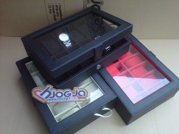 Elegan Watch Box Organizer Isi 12 Black inner Black