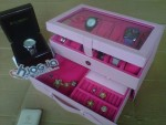 Girly Baby Pink Watch Box Isi 12 Mix Accesories Drawer