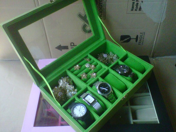 Kotak Jam Tangan Mix Tempat Perhiasan - 3in1 Boxes Green