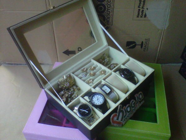 Kotak Jam Tangan Mix Tempat Perhiasan - 3in1 Boxes Black