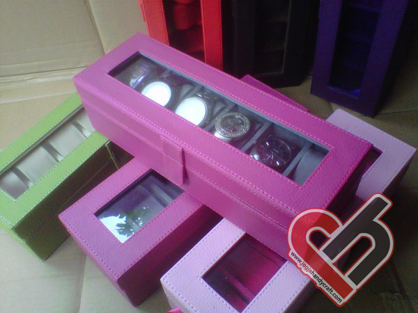 New Watch Box Organizer Isi 6 Shocking Pink Jogja Handycraft