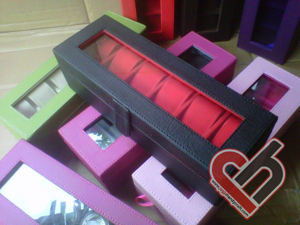 New Watch Box Organizer Isi 6 Balck Inner red Jogja Handycraft