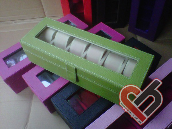 New Watch Box Organizer Isi 6 Green Jogja Handycraft