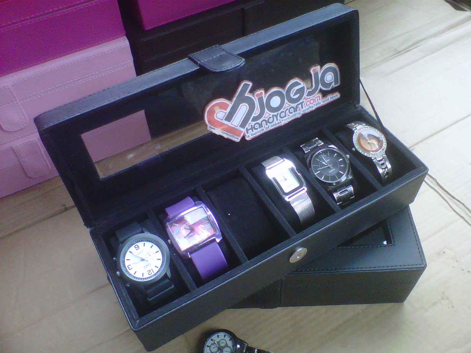 Full Black Watch Box Organizer For 6 Watches