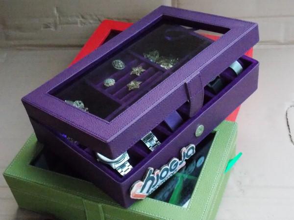Cute Purple 3in1 Boxes   Kotak Jam Kombinasi Perhiasan Cantik