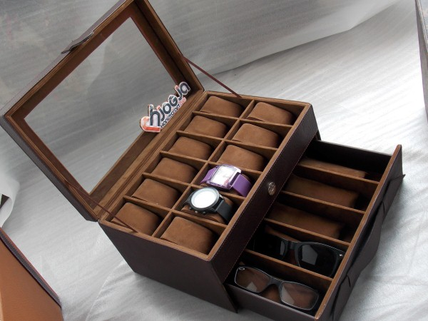 Brown Watch mix Glasses Box Organizer