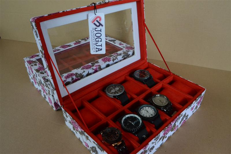 WAHITE FLORAL WATCH BOX FOR 12 PCS WATCHES | KOTAK JAM TANGAN ISI 12