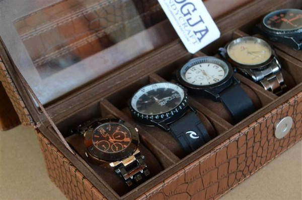 ELEGAN BRWON CROCO WATCH BOX FOR 6 PCS WATCHES | KOTAK JAM ISI 6