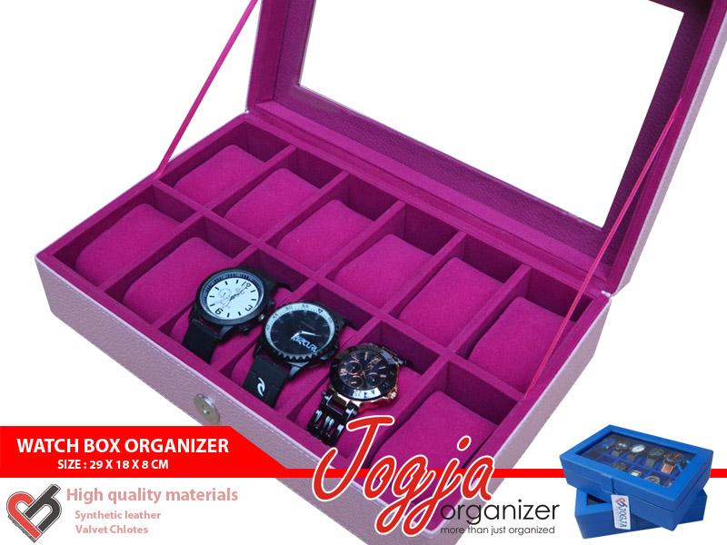 BABY PINK WATCH BOX ORGANIZER FOR 12 WATCHES (box jam tangan isi 12)