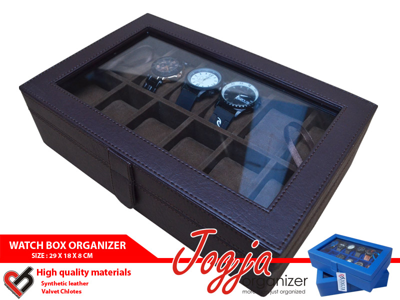 Full Brown Watch Box Organizer For 12 Pcs Watches