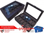 Full Dark Brown Watch Box Organizer Isi 12 | Kotak Jam Tangan Isi 12