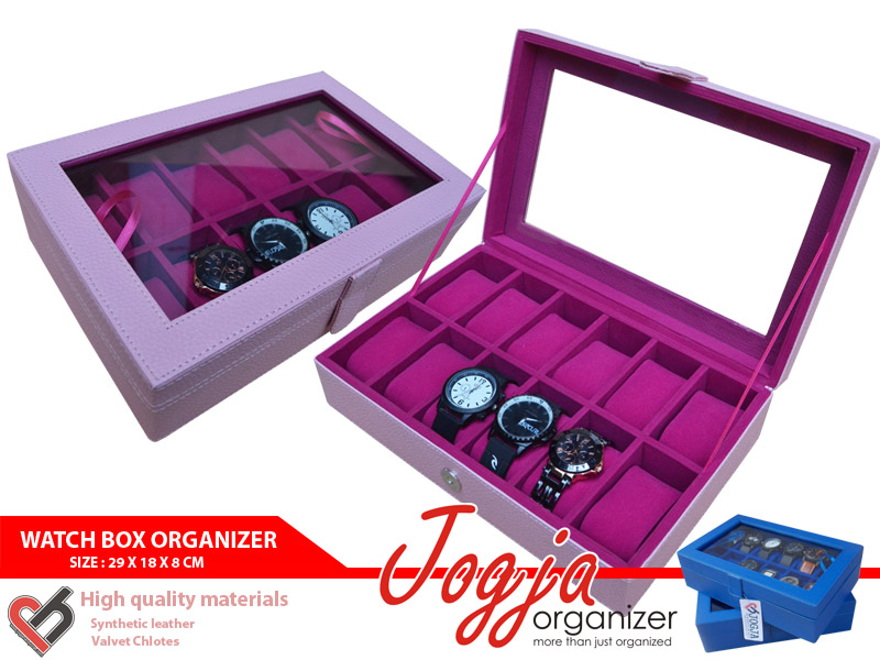BABY PINK WATCH BOX ORGANIZER FOR 12 WATCHES (box jam tangan isi 12)