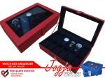 Red Black Watch Box For 12 Watches | Box Jam Tangan Isi 12