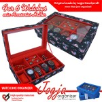 Black Floral Watch Box Mix Accesories Holder | Kotak Jam dan perhiasan