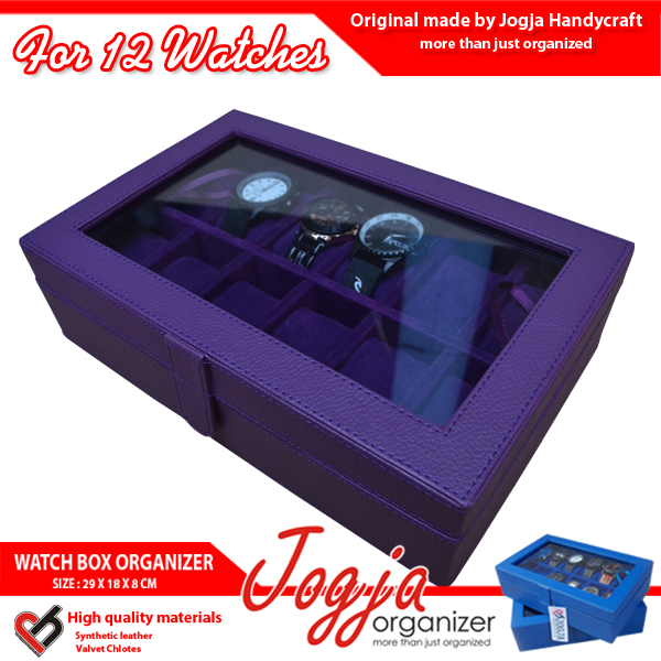 Full Purple Watch Box For 12 Pcs Watches | Kotak Jam Isi 12
