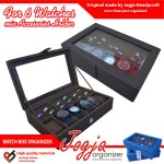 Brown Watch Box Mix Ring Organizer | Box Jam Kombinasi Tempat Cincin