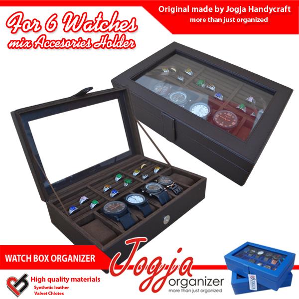 Brown Watch Box Mix Ring Organizer   Box Jam Kombinasi Tempat Cincin