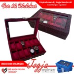 Maroon Croco Watch Box Organizer For 12 Watches | Kotak Jam Isi 12