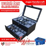Black Grey Watch Box For 24 Watches – Kotak Jam Tangan Isi 24