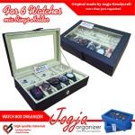 Black Cream Watch Box Mix Ring Organizer | Tempat Jam Tangan Mix Tempat Cincin