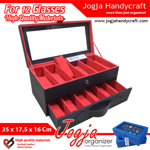 Black Red Glasses Box Organizer | Kotak Tempat Kacamata Isi 12