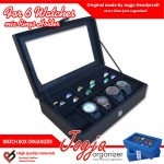Full Black Watch Box Mix Ring Organizer | Kotak Jam Kombinasi Tempat Cincin