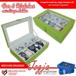 Green Cream Watch Box Mix Ring Organizer | Kotak Jam Kombinasi Tempat Cincin