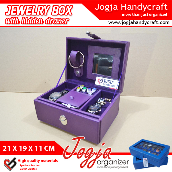 Full Purple  Jewlery Box With Hidden Drawer
