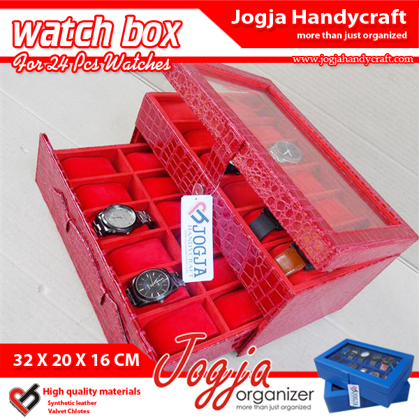 Red Croco Watch Box For 12 Watches | Kotak Tempat Jam Tangan Isi 24
