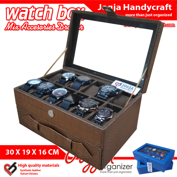 Elegan Brown Croco Watch Box Mix Jewelry Drawer / Kotak Tempat Jam Tangan