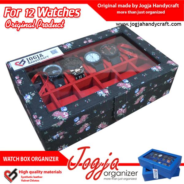 Kotak Jam Tangan isi 12 Black Floral