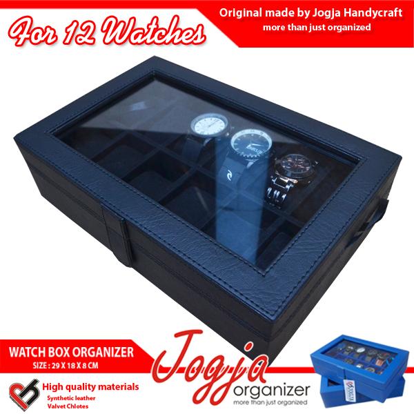 Kotak Jam Tangan isi 12 Full Black