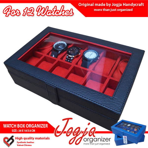 Kotak Jam Tangan isi 12 Hitam Merah