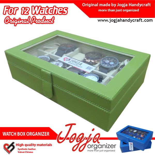 Kotak Jam Tangan isi 12 Green Cream