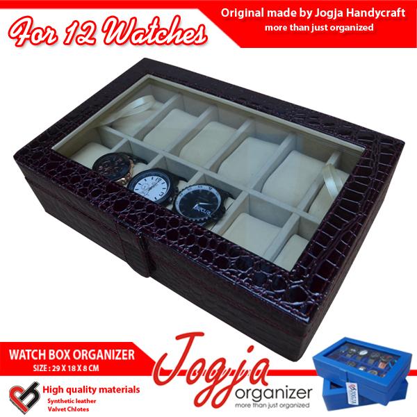 Kotak Jam Tangan isi 12 Croco Maroon Inner Cream