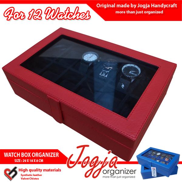Kotak Jam Tangan isi 12 Red Balck
