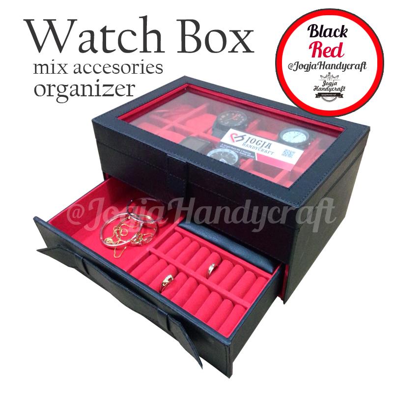Kotak Tempat Jam Tangan isi 12 Kombinasi Laci Tempat Perhiasan Hitam Merah