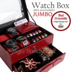 Kotak Jam Tangan Sport mix Tempat Perhiasan – Luxury Red Crocodile