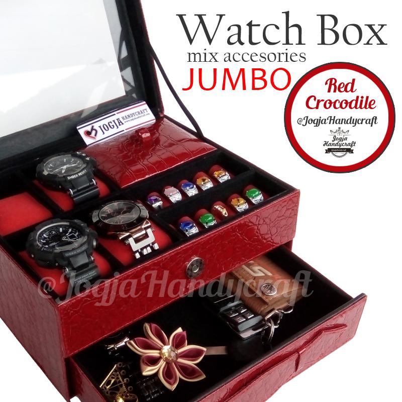 Kotak Jam Tangan Sport mix Tempat Perhiasan Luxury Red Croco 3in1 Susun