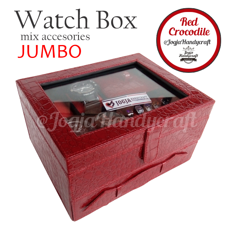 Kotak Jam Tangan Sport mix Tempat Perhiasan Luxury Red Croco 3in1 Susun