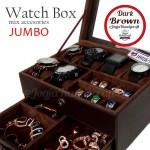 Kotak Tempat Jam Tangan Sport mix Tempat Perhiasan Full Coklat