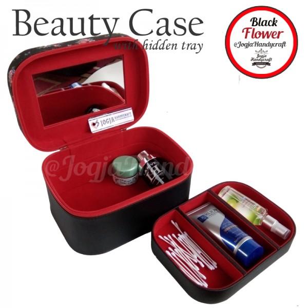 Tas Kosmetik Cantik Motif Bunga Hitam Lucu | Traveller Makeup Organizer