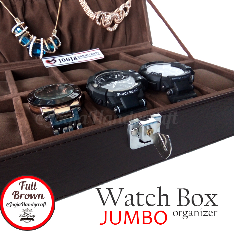 Exclusive Large Size Watch Box With Lock [Dark Brown]