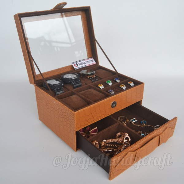 Elegan Brown Croco Wacth Box For 6 Sport Watches Mix Accesories Holder