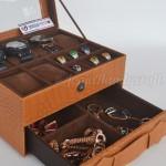 Kotak Tempat Jam Tangan Sport mix Tempat Perhiasan Brown Croco