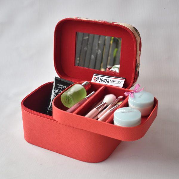 Makeup Pouch - Tas Tempat Kosmetik Cantik Motif Red Flower - Beautycase