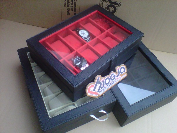 Elegan Watch Box Organizer Isi 12 Black inner Red