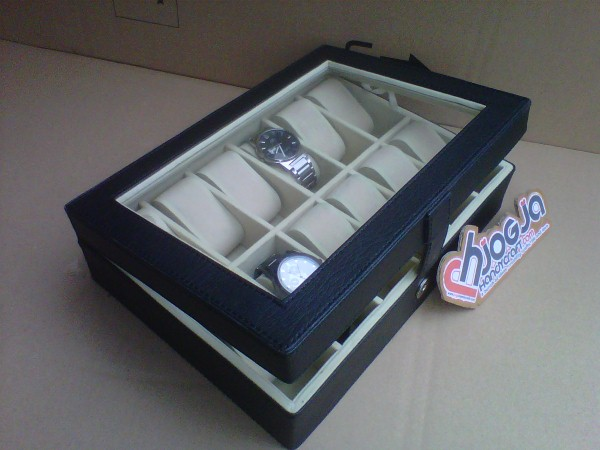 Black Elegan Watch Box Organizer Isi 12